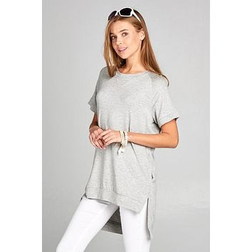 Crew Neck High Low Top - Heather Gray - Ships Tuesday