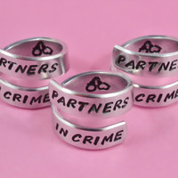 Partners in Crime - Spiral Rings Set (3 rings), Hand Stamped Aluminum Rings, Friendship Rings, BFF Gift, Handwritten Font