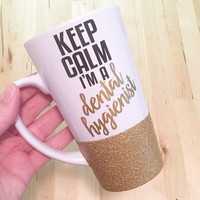 Dental Hygienist, Personalized Coffee Cup, Fully Customizable, Glitter Mug, Glitter Embellished Mug, Custom Designed Coffee