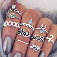 10pcs Vintage Knuckle Rings Tribal Ethnic Hippie Joint  Ring Set for Women