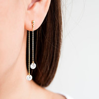 Tiny Double Sided CZ Front Back Long Chain Earrings, Gold /Silver, Cubic Zirconia Fringe Shoulder Duster, Bridal Bridesmaid Gift, CZ wj de