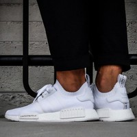 Best Online Sale Adidas NMD R1 Primeknit Triple White BZ0221  Boost Sport Running Shoes Classic Casual Shoes Sneakers