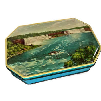 Small Vintage Tin Box of Niagara Falls and the Canadian Falls Ferry Boat in the Water Rectangular Storage Container Card Deck of Gift Box