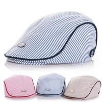 Newborn Baby Beret Handsome Lovely Casual Cotton Stripe Hat Kids Photography Props