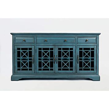 Craftsman Series 60 Inch Wooden Media Unit with 3 Drawers, Antique Blue By Benzara