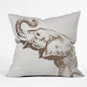 Belle13 The Wisest Elephant Outdoor Throw Pillow