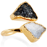 Black & White Crystal Drusy Ring, Stone & Novelty Rings