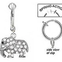 Fake Belly Navel Non Clip on Clear Cz paved gem Elephant dangle Ring