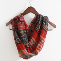 Tribal Print Bohemian Infinity Scarf Boho Pattern Scarf Red Aztec with Black multi