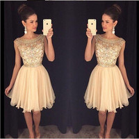 Champagne Rhinestone Short Homecoming Dresses 2016 Fashion Sequined Sleeveless Short Cocktail Dress Cheap Short Prom Gowns