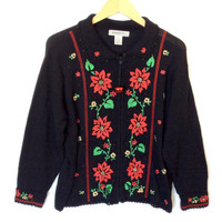 Embroidered Poinsettia Tacky Ugly Christmas Sweater