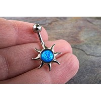 Blue Fire Opal Sun Belly Button Jewelry Ring