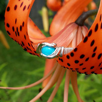 Size 4.25 Sleeping Beauty Turquoise Cabochon Ring Wrapped Sterling