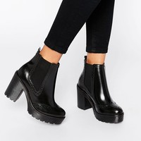 Bronx Chunky Heeled Leather Ankle Boots