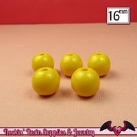 16mm YELLOW GUMBALL Beads (20 pieces) Round Acrylic Beads