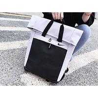 NIKE fashion hot selling men's and women's casual patchwork color shopping backpack White