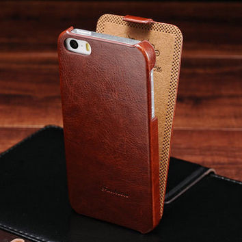 Luxury Flip PU Leather Case for iPhone 5 5s Retro Phone Back Cover with Fashion Logo Black Brown Withe Hot Sale