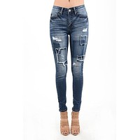 KanCan Women's Basic Skinny Jeans With Patches