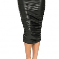 Faux Leather Ruched Midi Skirt in Black (Plus Sizes Available)