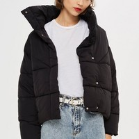 Black Wrap Puffer Jacket