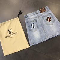 """Louis Vutitton"" Women Retro All-match Fashion Embroidery Denim Short Skirt"