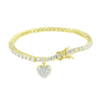 Ladies Heart Tennis Bracelet Round Cut 14K Gold Tone