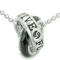 Positive Forever Eternity Double Rings Yin Yang Amulet Faceted Simulated Onyx Pendant 22 Inch Necklace