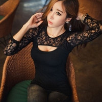 Sexy nightclub explosion models lace stitching long-sleeved T-shirts Luxiong size S-XXXL = 1747722884