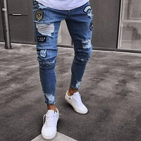 Hole Embroidered Jeans