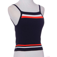 Bustier Crop Top Striped Knitting Midriff Suspenders Top Cropped Vintage Colete Jeans Feminino #2415