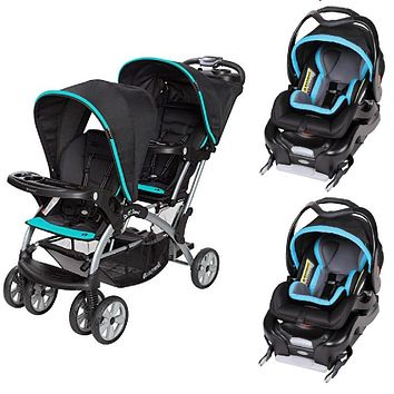 Blue, Teal, Aqua Double Sit N Stand Twin Stroller Travel System Bundle with 2 Car Seats