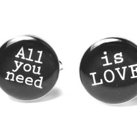 All You Need is LOVE OOAK Silver Plated Resin Cuff Links Mens Accessories Cufflinks The Beatles Vintage Song Lyrics Music Rock and Roll