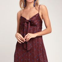 Arellano Burgundy Floral Print Tie-Front Skater Dress