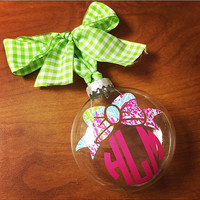 Lilly Pulitzer Bow Monogram Preppy Christmas Ornament