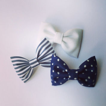 Navy dot, dark grey stripe and white denim hair bows from Seaside Sparrow.  Perfect birthday present or gift for any girl.