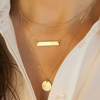 Women's New Simple Bar Sequins Pendant Multilayer Alloy Short Necklace