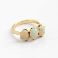 Antique 14K Rosy Yellow Gold Triple Opal Ring- Vintage Size 6 1/2 Early 1900s Art Deco Prong Set Gemstone Fine Jewelry