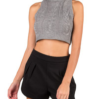 Cable Knit Cropped Sweater Tank - Gray - Large
