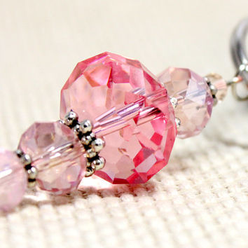 Hot Pink Swarovski Two Toned Crystal Dog or Cat Collar Pendant Faceted Crystal Bead Pet Jewelry Accent. Long Glass Dangle with Silver Accent