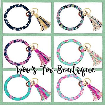Designer 2 - Bangle Key Ring with Tassel - Simply Southern