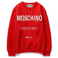 Moschino New fashion letter print couple long sleeve top sweater Red