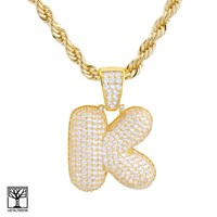 """Jewelry Kay style K Initial Custom Bubble Letter Gold Plated Iced CZ Pendant 24"""" Chain Necklace"""