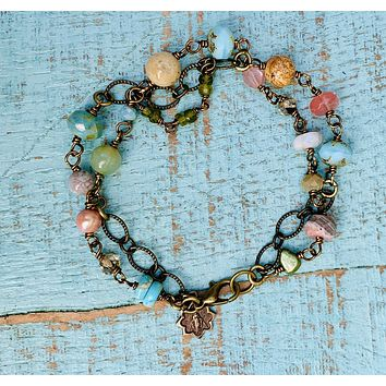 Blossom Double Gemstone and Miraculous Medal Bracelet