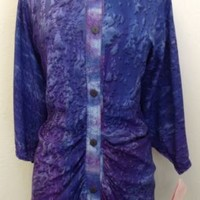 NWT Vtg 1980s Reds Threads PURPLE Shirt Blouse Festival BATWING Hand Made XL XXL