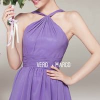 Simple lilac halter above knee-length A-line ruched chiffon plus size prom bridesmaid dress homecoming dress cocktail dress ET318