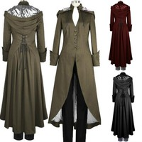 Victorian Double Cape Coat Gothic Black Steampunk Victorian Trench Coat with Hood Plus Sizes