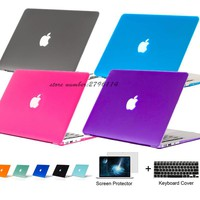 3in1 Matte Slim laptop case laptop notebook PC bag for Macbook air Pro 11 12 13 15 inch cover for macbook pro Retina 13.3 15.4