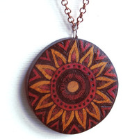 Wood Sun Necklace, Pyrography Jewelry, Sun wooden pendant, Wood burning necklace, Carved wood pendant,Sun design, woodburning, wood Jewelry