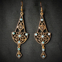 Vintage Art Deco Boho Chandelier Earrings in a Bronze Finish with Light Blue Rhinestone Accents