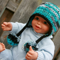 Baby Boy hat earflap pom crocheted in teal blue camo, black, and gray 0-6 months Custom available